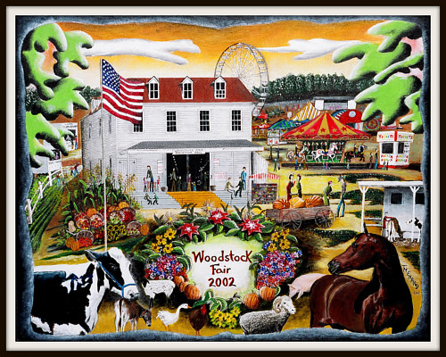 A complex painting of a county fair