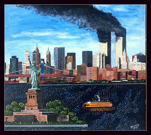 A painting of New York with the two towers burning
