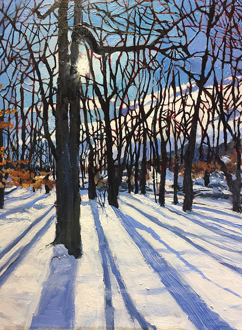 A painting of trees in a snowy field