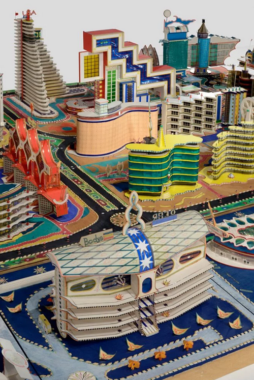 A detailed view of a complex city diorama