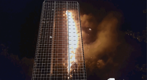 Video footage of the Grenfell Tower Fire projected onto a 3D map of the tower