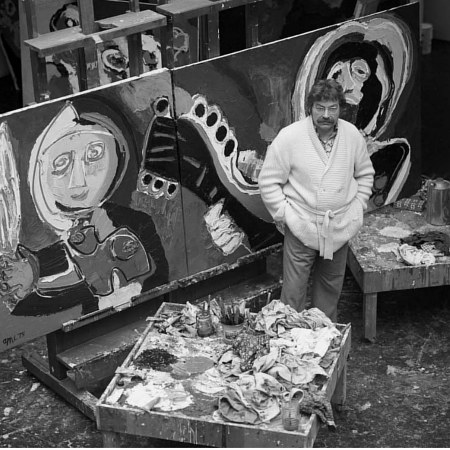A photo of Dutch artist Karel Appel in his studio