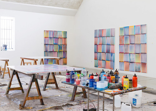 A photo of Bernard Frize's art studio