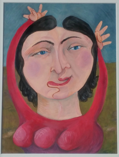 A painting of a woman with abstracted features