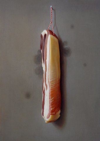 A painting of a side of bacon hanging