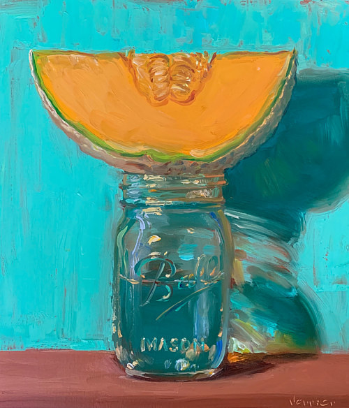 A painting of a slice of cantaloupe on top of a mason jar