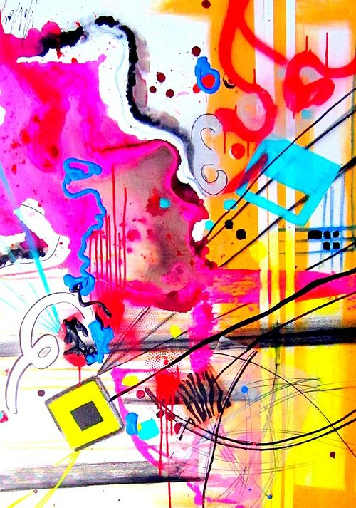 Abstract painting with ink drops and squiggles