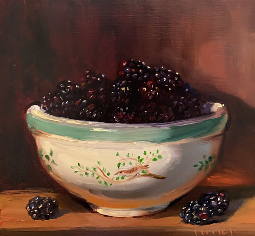 A painting of a bowl of blackberries