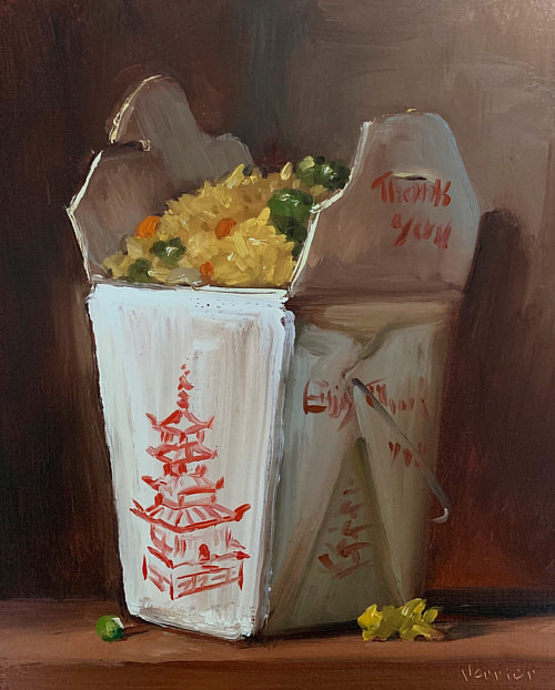 A painting of a chinese takeout box of fried rice