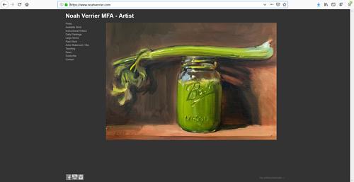 The front page of Noah Verrier's art portfolio website