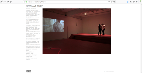 A screen capture of Stephane Gilot's art portfolio website