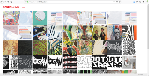 The front page of Randall Day's art portfolio website