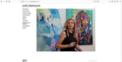The front page of Julie Gladstone's art portfolio website