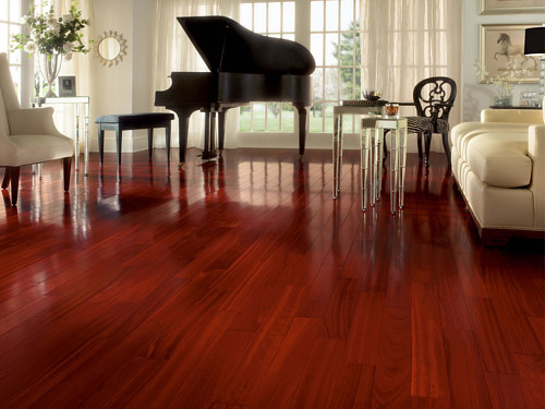 A living room featuring red hardwood flooring and a baby grand piano