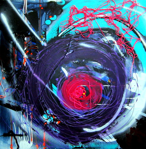 painting of circular purple outline with a red dot in a messy style