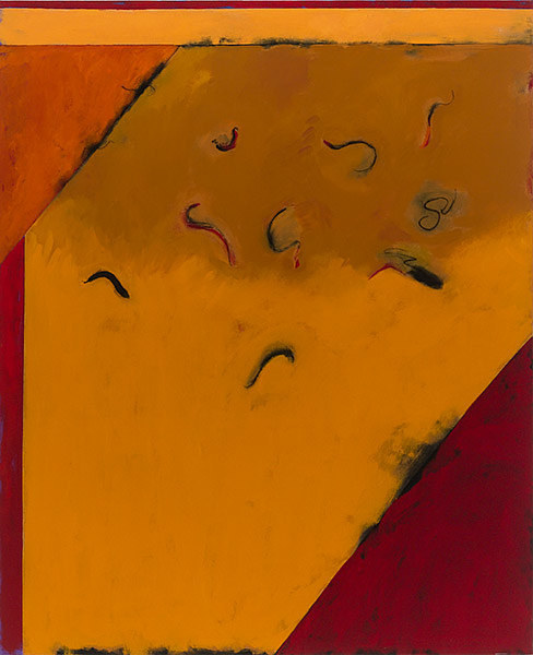 A painting with warm yellow tones and small black abstract shapes