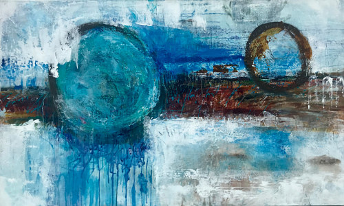 A painting with rounded figures and textured blue paint