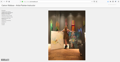 A screen capture of Catron Wallace's art portfolio website