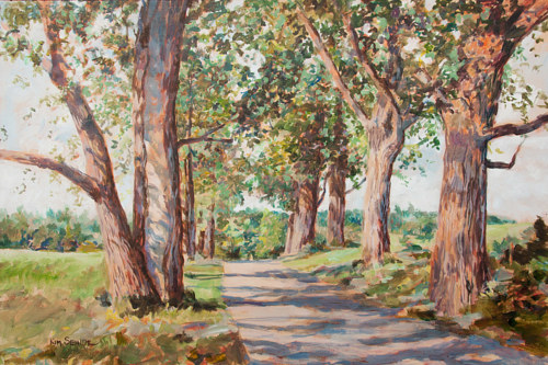 A painting of a row of poplar trees along a road