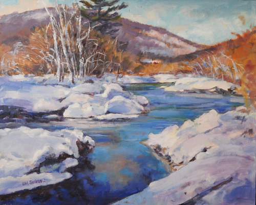 A painting of a river in a thawing snowbed