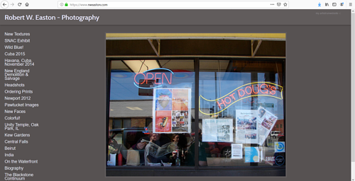 The front page of Robert W. Easton's photography portfolio website