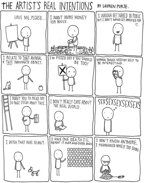 cartoon strip of the artist's real intentions