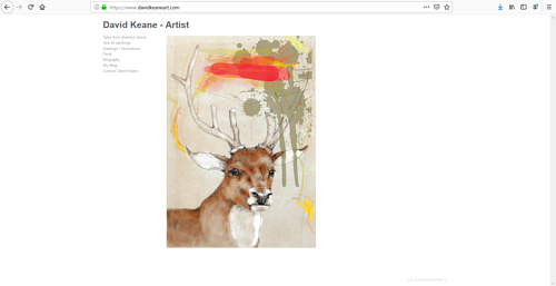 A screen capture of David Keane's art portfolio website
