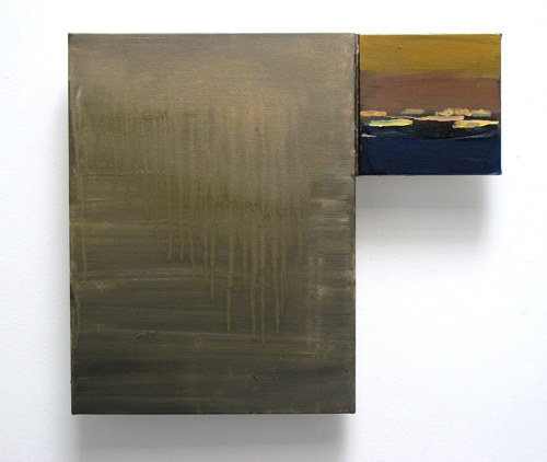 A wall-hanging artwork with two canvas panels in different sizes