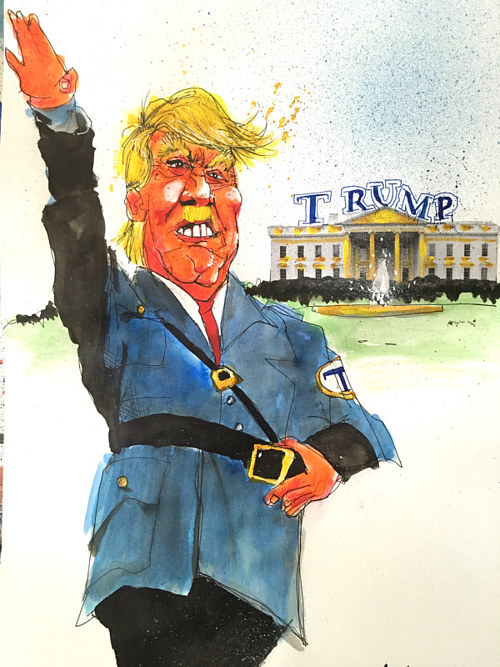 A cartoon of Donald Trump as a Nazi