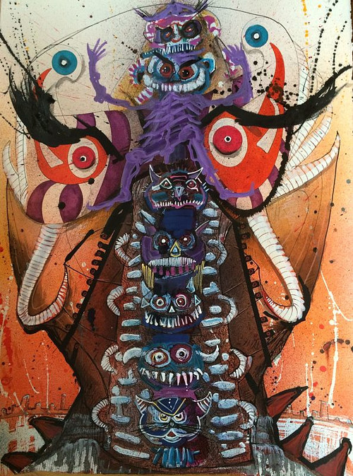 An illustration of a bizarre seven-headed monster