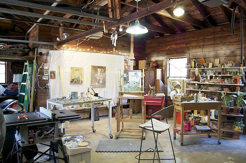 A beautiful cabin-esque studio belonging to the artist Mary Addison Hackett.