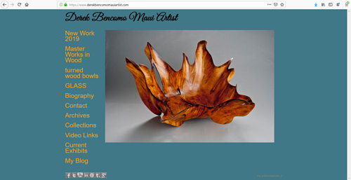 A screen capture of Derek Bencomo's art portfolio website