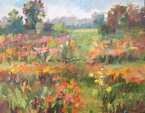 An oil painting of flowers in a field
