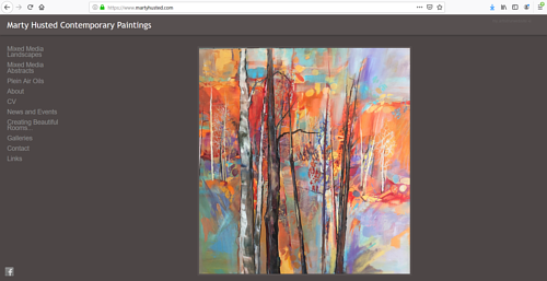 A screen capture of Marty Husted's art portfolio website