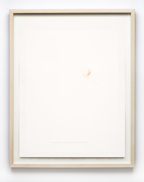 A minimalist artwork made with a point of watercolour on paper