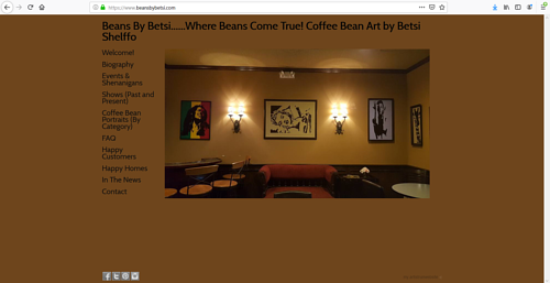 The front page of Betsi Shelffo's art portfolio website