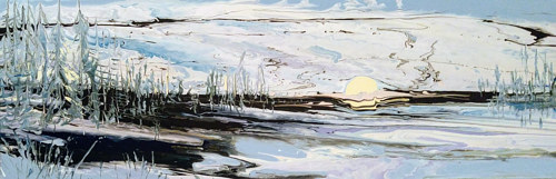A painting of a lake in the dead of winter