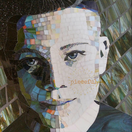 A mosaic portrait of a young boy