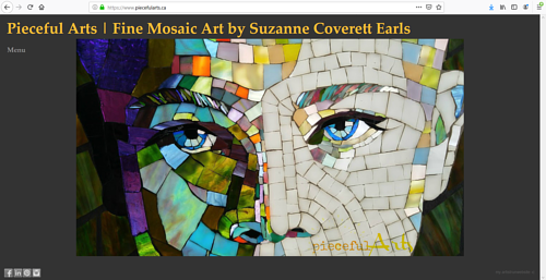 A screen capture of Suzanne Coverett Earls' art portfolio website