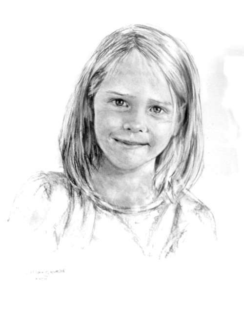 A black and white portrait of a girl