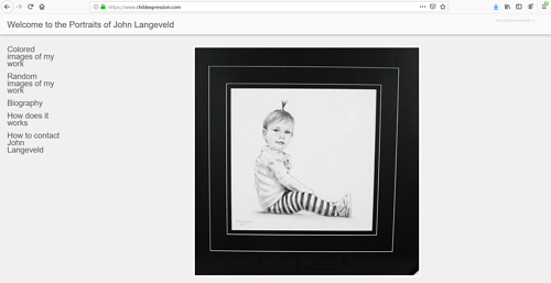 A screen capture of the front page of John Langeveld's art portfolio website