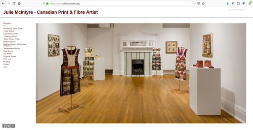 The front page of Julie McIntyre's artist portfolio website