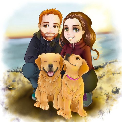 A drawing of a couple with two golden retrievers