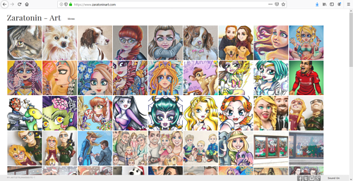 A screen capture of Zara Spence's art portfolio website