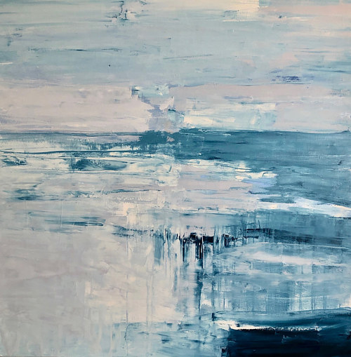 A painting composed of cool blue and grey colours