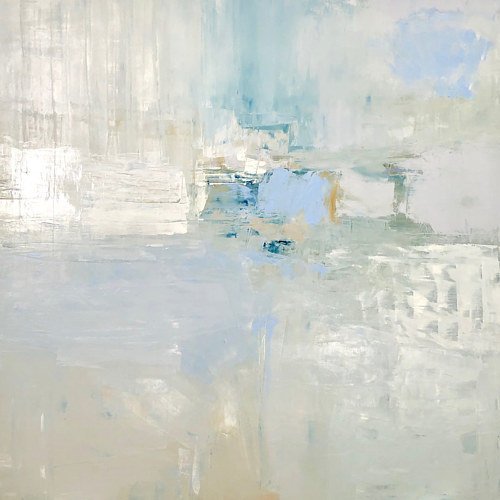 An abstract painting made up of pale and white hues