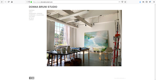 A screen capture of Donna Bruni's art portfolio website