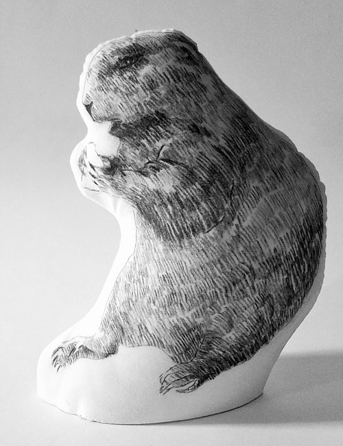 A textile sculpture of a gopher