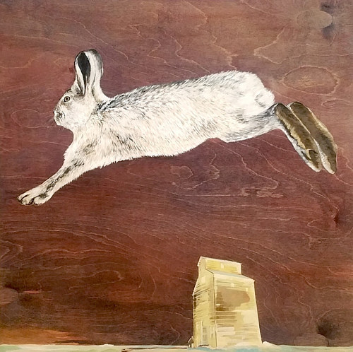 A painting of a rabbit in mid-jump