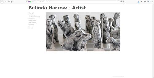 A screen capture of Belinda Harrow's art portfolio website
